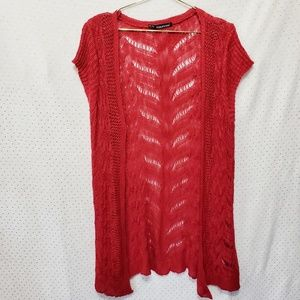 Open Knit Tunic Cardigan*Red*Maurice's+ Sz 1*L